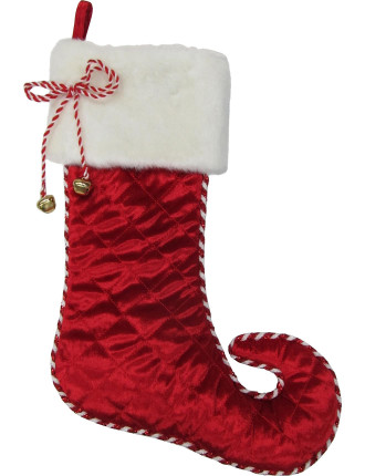 Stock-45cm Quilted W/ Fur Stocking Red/White