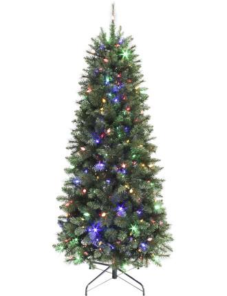 210cm Wesley Slim Pine Pre-Lit Tree Green