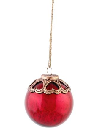Red Bauble With Bronze Metallic Top