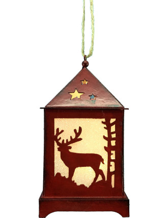 Light-Lantern Xmas Tree & Deer W/ LED Red