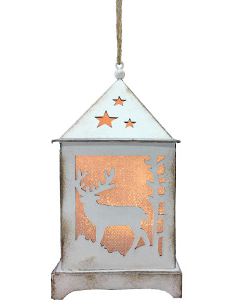 Light-Lantern Xmas Tree & Deer W/ LED Silver