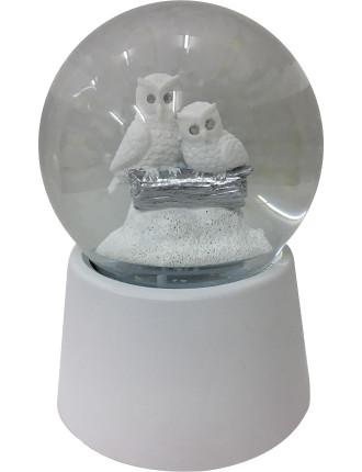 Ani-Waterglobe 15X10 2 Owls Musical White