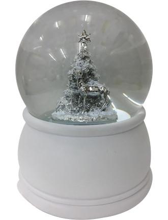 Ani-Waterglobe 18X12 Reindeer W/ Tree Musical White