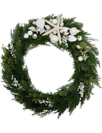 Gar-Wreath 50cm Conch & Starfish White/Green