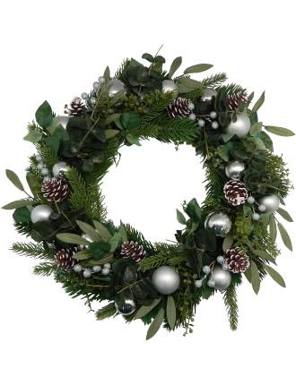 Gar-Wreath 50cm Pinecone & Bauble Silver/Green