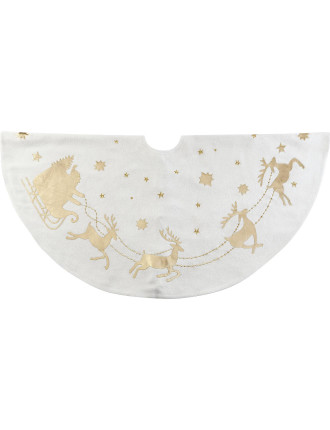 Acc-Tree Skirt 122cm Santa Sleigh Cream/Gold