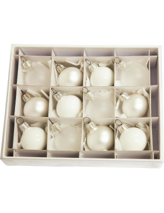 12Pc White Bauble Box - 3cm