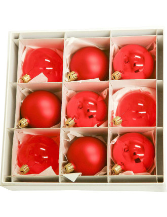 9Pc Red Bauble Box - 6cm