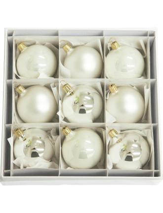 9Pc Silver Bauble Box - 6cm