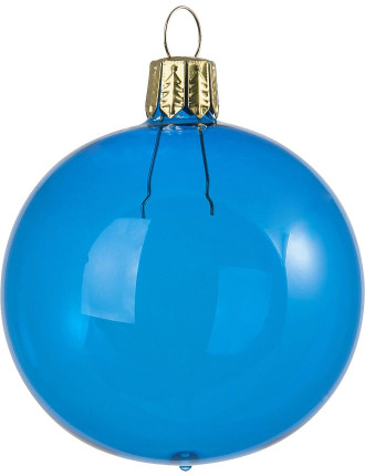 Clear Blue Bauble - 8cm