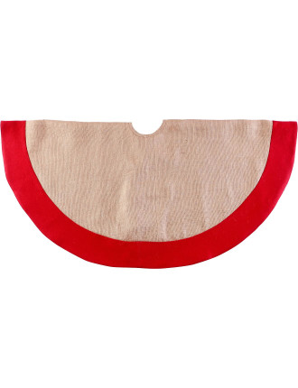 Acc-Tree Skirt 122cm Red Felt Border Ecru
