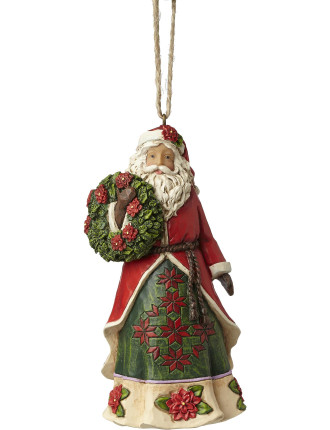 Orn-Santa W/ Poinsettia Wreath Multi