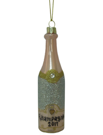 Orn-Glass Champagne Bottle Pink
