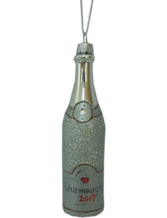 Orn-Glass Champagne Bottle Silver