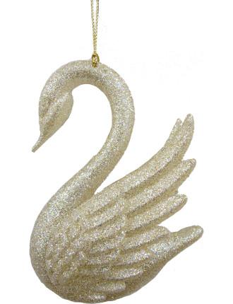 Orn-Glitter Swan Gold