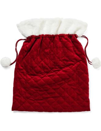 Sack-Quilted W/ Fur Xmas Red/White