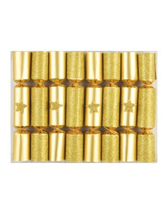 Charades Mini Glittered Gold Cracker - 8Pc