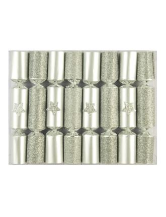 Charades Mini Glittered Silver Cracker - 8Pc