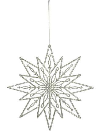 25cm Glittered Star Silver