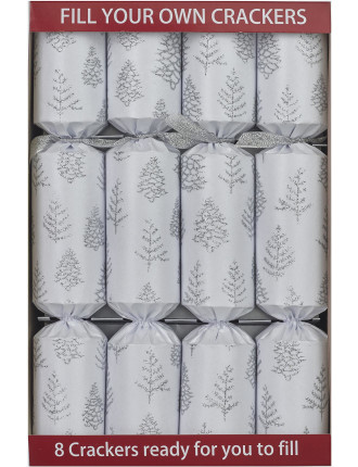 Fill Your Own Xmas Tree White/Silver 8PC Crackers