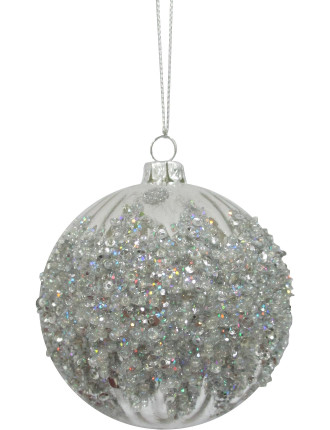 8cm Frost Embellished Bauble
