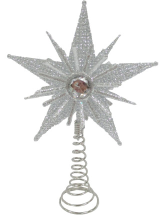 Acc-Tree Topper Glitter Star Silver