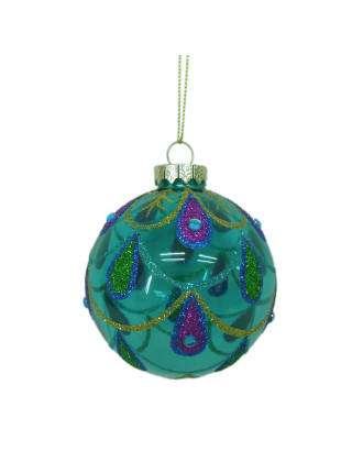 8cm Peacock Feathertail Pattern Bauble