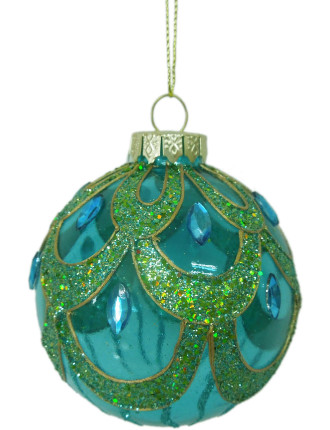 8cm Bead Embellished Pattern Bauble