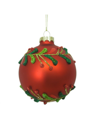 10cm Glass Holy Leaf Bauble