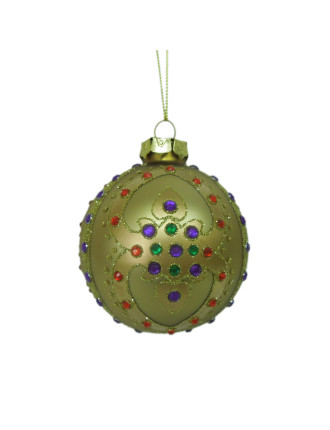 8cm Glass Gem Pattern Bauble