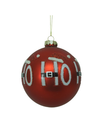 Glass Ho Ho Ho Bauble Red