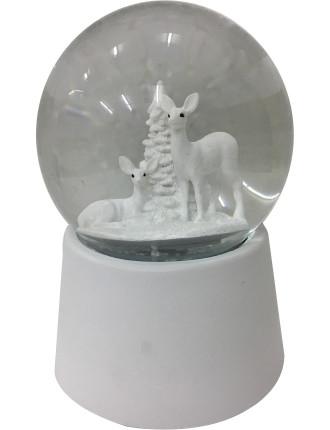 Ani-Waterglobe 15X10 2 Deer W/ Tree Musical White