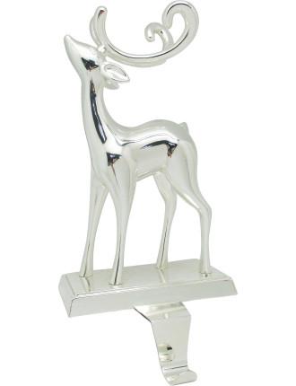 Stock-Reindeer Stocking Holder Silver