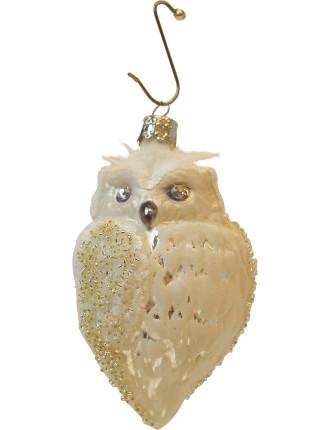 Owl W/ Swarovski White 11cm Ornament