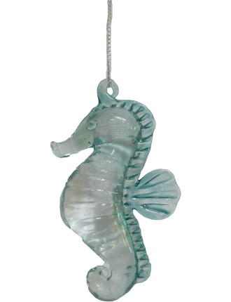 Orn-Glass Sea Horse Clear/Green