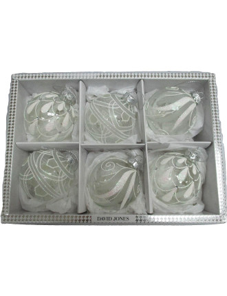 Bbox-6pc Glass Bauble Box White/Silver