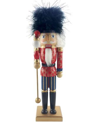 Decor-35cm Nutcracker Soldier Red/Gold