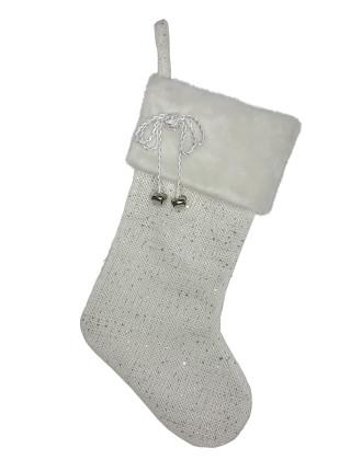 Stock-48X27 Fur Cuff Stocking White