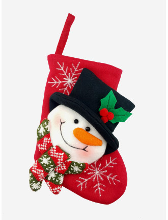 Stock-Mini Snowman Stocking Red