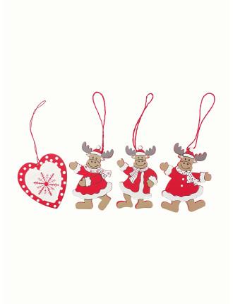Bbox-12pc Wooden Deer & Heart Set Red/White