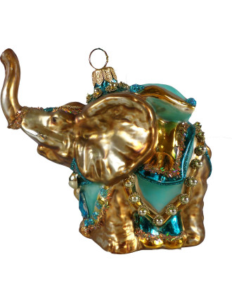 Elephant Teal Outfit Gold Tree Ornament