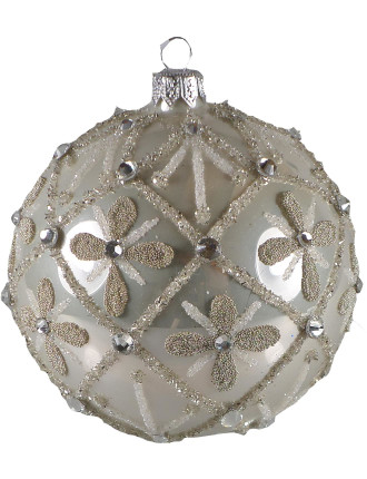 Glass Shiny White Flower Pattern Jewels Gold Bauble