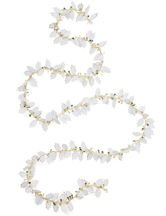 white and gold holly tinsel