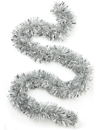 White with silver glitter tinsel garland