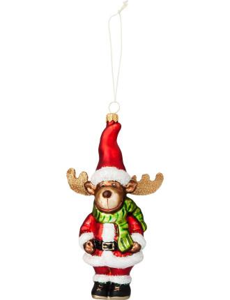 Moose and Santa Ornament