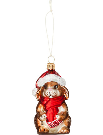 Bunny in santa hat ornament
