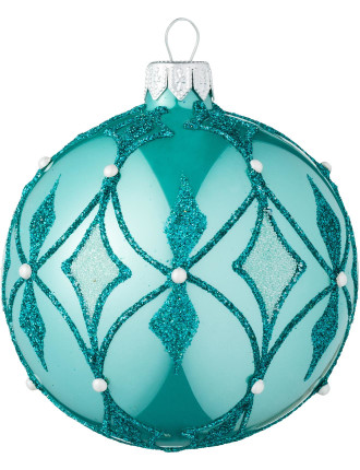 Blue glass ornament with glitter and pearl design