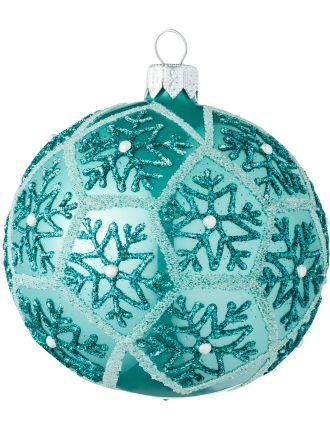 Blue glass ornament with hexagonal gltter design