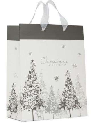 Bag Lge - Silver & White Enchanted Forest