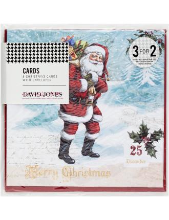 Card Box 8pk - Traditional Santa